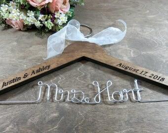 Wedding Personalized Hanger - Engraved Brown Wooden Bride Hanger - Photo Props - Bridal Hanger - Wedding Coat Hanger - Custom Wire Hanger