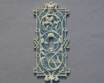 Light Switch Plate Cover Blue Jasperware Wedgwood Look Plastic Gargoyles Norse God Horned Goat Acorns So Unusual