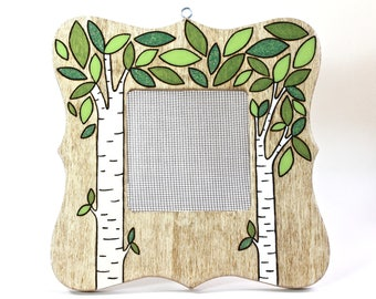 Earring Organizer Frame Display Stand, Wood Burned Birch Tree Jewelry Holder, Hanging or Standing Display