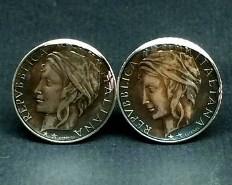 Italy coin cufflinks 100 Lire.22mm.