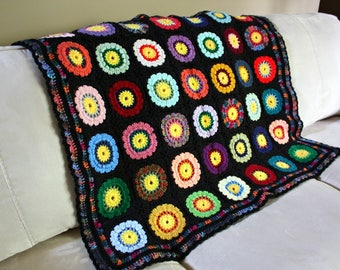 New Crochet Granny Square Afghan Colorful 42 Squares / Throw Blanket