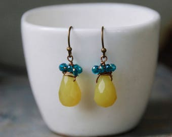Small yellow jade gemstone dangle earrings,colorful small earrings,boho earrings,teal earrings.Tiedupmemories