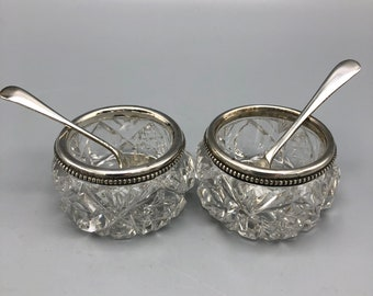 Antique Sterling Rimmed Cut Crystal Open Salts with Silver or Silver Plated Spoons