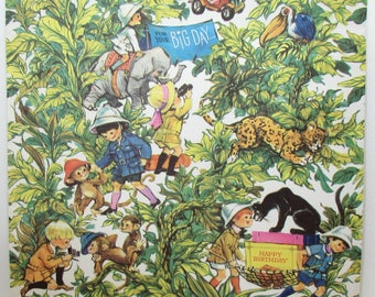 Vintage Gift Wrap - Vintage Wrapping Paper - Jungle Happy Birthday - Mid Century - children - explorers