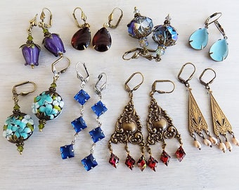 Earring lot, Gift Lot, Instant collection,Bridesmaid Gift,Vintage Style, Gift Woman, Blue, Ruby, Purple, Turquoise, Gift woman, Gift Girl