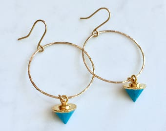 Circle with turquoise drop earrings