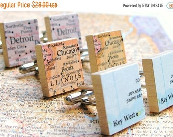 SUMMER SALE You Choose Map or Dictionary Scrabble Tile Cufflinks as featured on Parents.com, brother gift, husband gift, anniversary gifts f