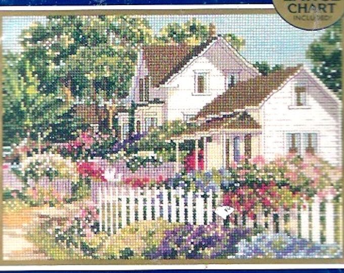 Springtime blossoms cottage kit Counted cross stitch diy Needlework Embroidery Bucilla 42117 Unused unopened Garden lover gift