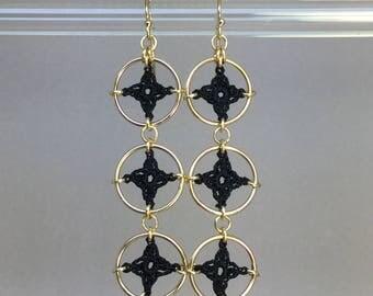 Spangles, black silk earrings, 14K gold-filled