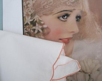 Vintage hankie, vintage handkerchief, peach edged hankie wedding hankie