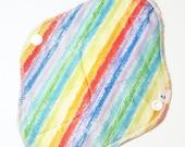 Cloth Mama Pad / Reusable Cloth Pad - Regular Flow  - Rainbow Stripes Printed 8 Inch FREE Shipping