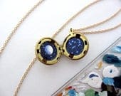 Orion Mini Oil Painting Necklace, Constellation with Full Moon Locket Brass Ball