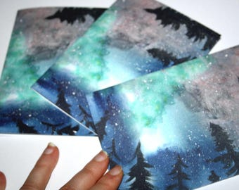 Set of ten Yuletide Greeting Cards Northern Lights Aurora Borealis Winter Solstice Cards Yule Cards Christmas Cards With Envelopes