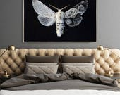 Moth Print  - (Print # 403)  White Moth - Fine Art Print - Two Paper Choices- Bohemian Home
