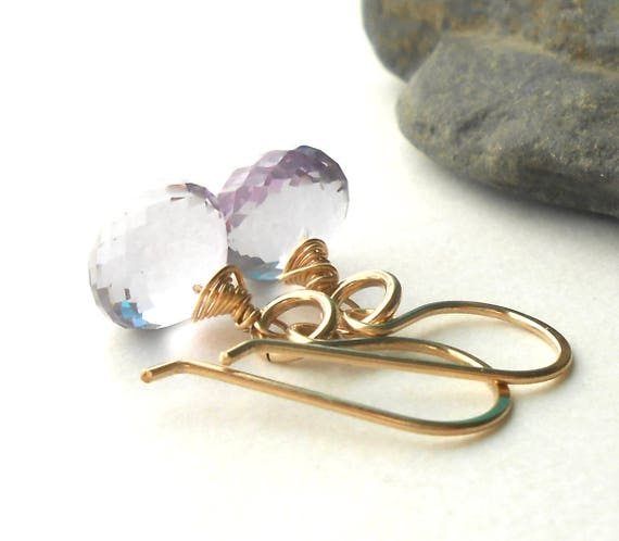 Pink Amethyst Gold Drop Earrings