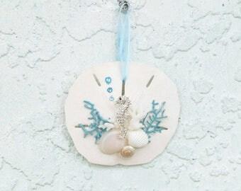 Seahorse Sand Dollar Ornament, Bling Seahorse, Turquoise and White, Aqua Sea Fans, Sea Horse Ornament, Coastal Christmas Tree Decor
