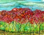 Spring Forest: Fine Art Print from mixed media painting