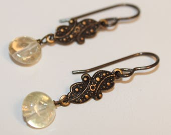 Citrine Crystal Earrings Antiqued Brass Charm Pale Yellow Stocking Stuffer Shimmer Shimmer Free Gift Wrap Ready To Ship