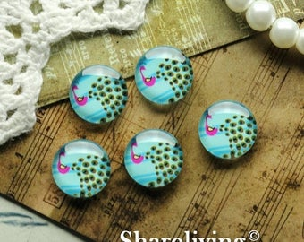 SALE - 30% OFF 12mm Glass Dome, 8mm 10mm 14mm 16mm 20mm 25mm 30mm Round Peacock glass Cabochon - BCH194H