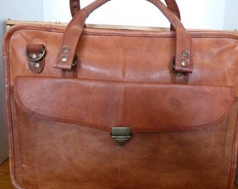 "16"" Leather Computer Bag; Fair trade; Naturally tanned;"
