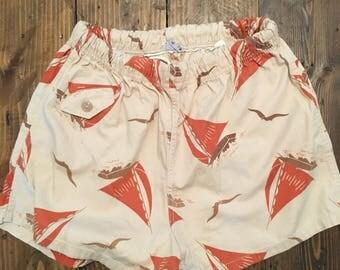 Rare Vintage Nautical Sailboat Print Shorts