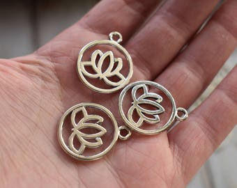Silver Lotus Charm - Metal Charm Pendant Compass - Adventure Travel Pendant Jewelry Supply - pack of 15