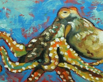 Octopus 1 fish portrait painting  12x24 inch original oil painting by Roz