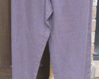 Ladies ankle length deep purple linen ruffle bottom pants