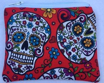Sugar Skulls Coin Pouch: Dia De Los Muertos, Flowers.