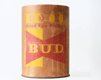 Vintage Budweiser Canister, Anheuser Busch Bud Dried Egg Products, Prohibition
