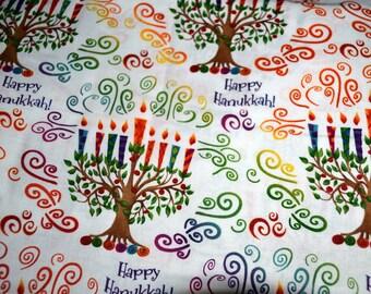 Judaic Fabric  Menorah Tree on White Quilting Fabric by the Half Yard