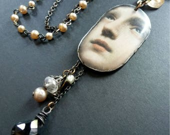 Eternal ~ resin art necklace with charm cluster and vintage faux pearls, onyx and glass ~ rustic vintage assemblage ~ ooak