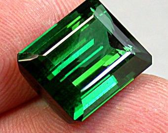 Vintage TOURMALINE Blue Green Faceted Gemstone Emerald Cut 11.40 cts fg123