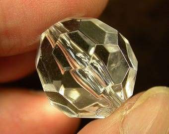Vintage LUCITE BEAD Faceted Clear Focal 20mm pkg 1 res92