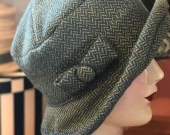 Herringbone Wool Cloche Hat- Handwoven- Blue and Chartreuse