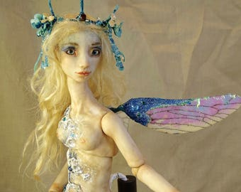 Fairy Doll BJD Sea Nymph polymer clay OOAK Sarah Pierzchala
