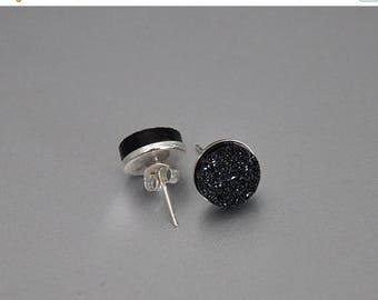 Black Druzy Earrings,  Silver Earrings, Quartz Titanium Druzy, Sterling Silver, 8mm Stones, Gemstone Earrings, Geocode, Drusy