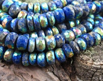 Mystic AB Lapis beads Faceted Rondelles - 4 inches - 7mm X 4mm