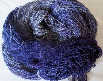 Hand dyed Plush Rayon Chenille Black Fleck Yarn  METALLIC FLECKS  -  360 yds