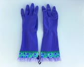 Designer Cleaning Gloves. Size Small or Medium. Purple Flowers. Dishwashing Latex Kitchen Gloves.