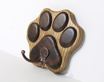 Paw Wall Hook Hanger Made Of Oak And Walnut Woods