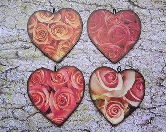 4 heart ornaments - peach pink red roses set - wooden shape, photo print, Valentine flowers floral romantic black home decor