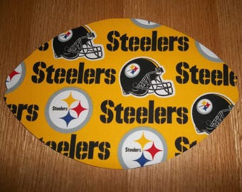 NFL Mouse Pad, Pittsburgh Steelers, Gift, Desk Accessory, Mouse Pads, Office Decor, Handmade Football Shape, Computer Mouse Pad, Fathers Day