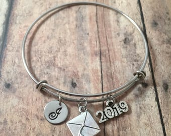 2019 Graduation initial bangle- graduation gift jewelry, gift for grad, 2019 initial bracelet, graduation cap jewelry, silver grad bangle