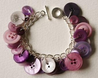 Button Charm Bracelet Dusky Lilac Lavender Purple