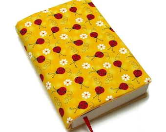 Book cover, TRADE SIZE paperback book cover,  book protector, cotton, padded cover, ribbon bookmark,  Ladybugs