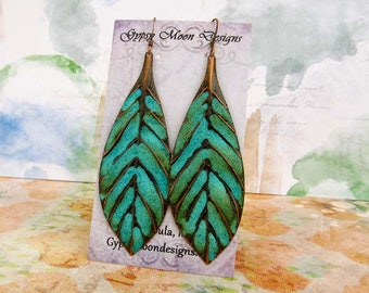 Boho earrings Turquoise Earrings bohemian jewelry long leaf earrings Patina Copper Dangle Drop