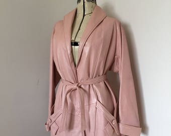 Pearl Pink Leather Trench Coat 1960's Cinch Tie Front Pink Lady Mod Cool
