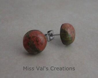 unakite earring studs 10mm