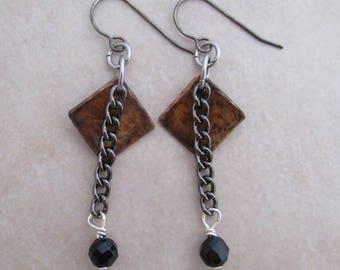 darkness earrings black onyx gunmetal copper sterling silver